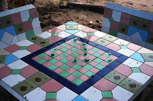стол беседка патио мозаика - ландшафтный дизайн фото