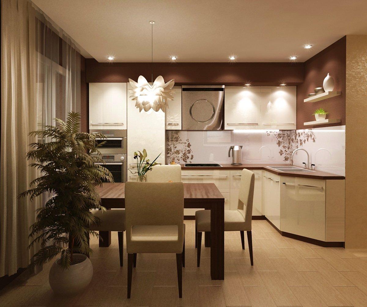 Современная бежевая кухня с интерьером гостиной в оттенках капучино